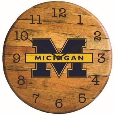 "Michigan Wolverines 21"" Barrel Team Logo Clock |GREENSTONES|BTC-MICH-01"