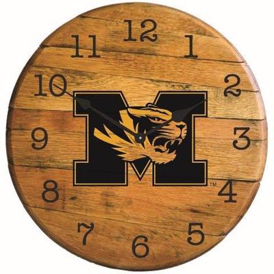 "Missouri Tigers 21"" Barrel Team Logo Clock| Greenstones| BTC-MIZ-01"