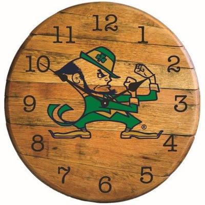 "Notre Dame Irish Logo 21"" Barrel Team Clock | GREENSTONES| BTC-ND-02"