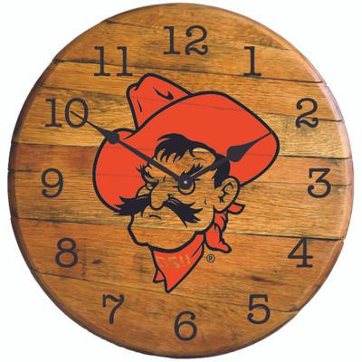 "Oklahoma State Cowboys 21"" Barrel Team Clock - Pistol Pete  GREENSTONES   BTC-OSU-01"