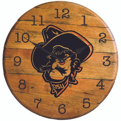 "Oklahoma State Cowboys 21"" Barrel Team Clock - Phantom Pete   GREENSTONES   B"