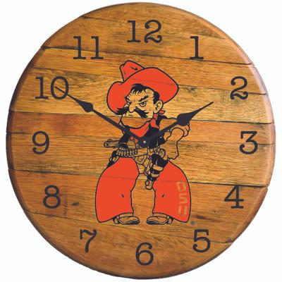 "Oklahoma State Cowboys 21"" Barrel Team Clock - Pistol Pete full   GREENSTONES  BTC-OSU-03"