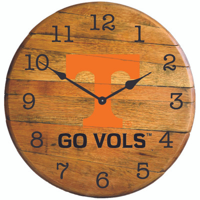 "Tennessee Volunteers 21"" Barrel Team Logo Clock   GREENSTONES   BTC-TENN-01"