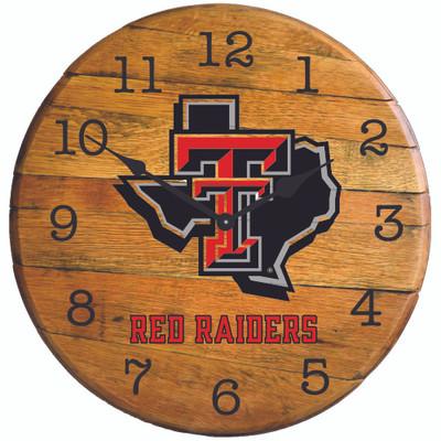 "Texas Tech Red Raiders 21"" Barrel Team Logo Clock  | GREENSTONES | BYC-TTU-01"