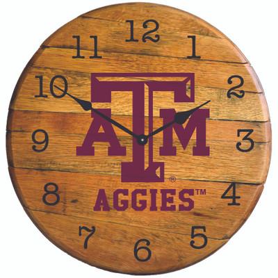 """Texas A&M Aggies 21"""" Barrel Team Logo Clock  GREENSTONES  """