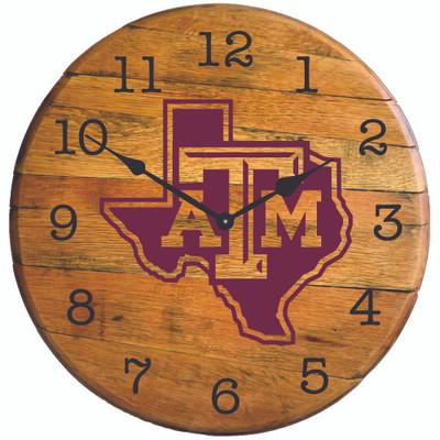 "Texas A&M Aggies Texas Logo 21"" Barrel Team Logo Clock   greenstones  BTC-TXAM-02"