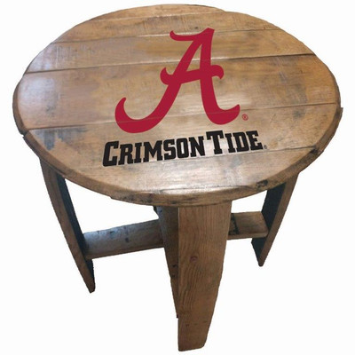 "Alabama Crimson Tide 21"" Barrel Team Logo Table   GREENSTONES  BTT-ALA-02"