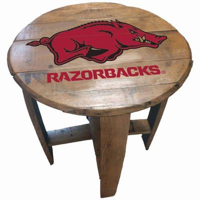 """Arkansas Razorbacks 21"""" Barrel Team Logo Table   greenstones BTT-ARK-01"""