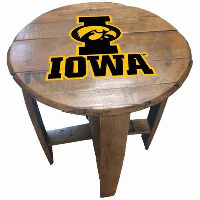 "Iowa Hawkeyes 21"" Barrel Team Logo Table   GREENSTONES   BTT-IA-01"