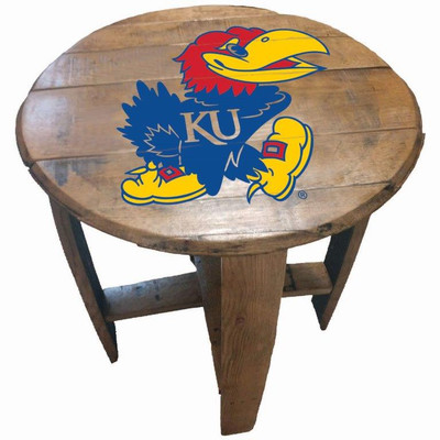 """Kansas Jayhawks 21"""" Barrel Team Logo Table   GREENSTONES   BTT-KU-01"""