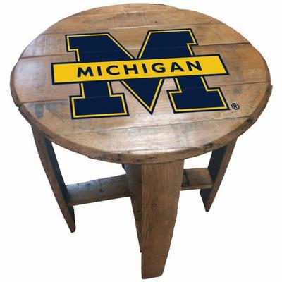 """Michigan Wolverines 21"""" Barrel Team Logo Table   GREENSTONES   BTT-MICH-01"""