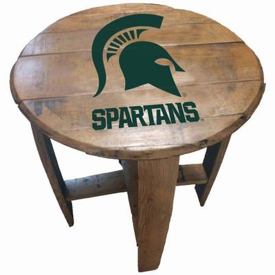 """MSU Spartans 21"""" Barrel Team Logo Table   GREENSTONES   BTT-MICHST-01"""