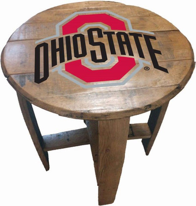 "Ohio State Buckeyes 21"" Barrel Team Logo Table   GREENSTONES   BTT-0HIOST-01"