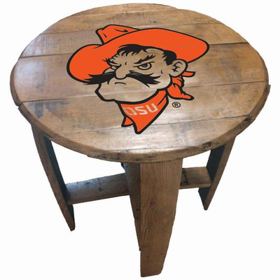 "Oklahoma State Cowboys Pistol Pete Logo 21"" Barrel Team Logo Table   GREENSTONES   BTT-OSU-01"
