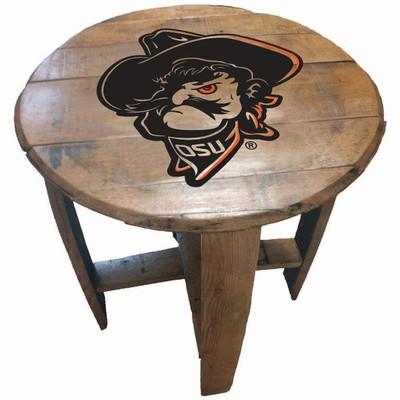 "Oklahoma State Cowboys Phantom Pete Head 21"" Barrel Team Logo Table | GREENSTONES | BTT-OSU-02"
