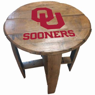 "Oklahoma Sooners 21"" Barrel Team Logo Table   GREENSTONES   BTT-OU-01"