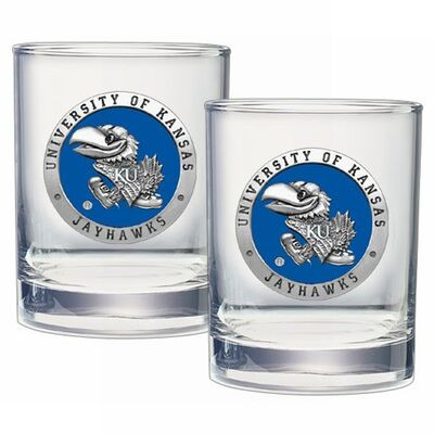 Kansas Jayhawks Cocktail Glasses | Heritage Pewter | DOF10184EB