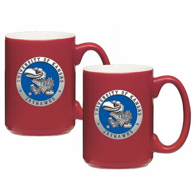 Kansas Jayhawks Coffee Mug Set of 2 | Heritage Pewter | CM10184EBRD