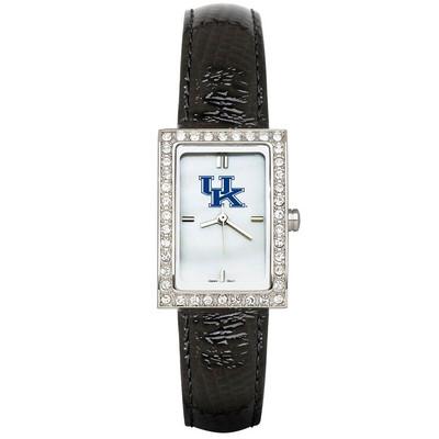 Kentucky Wildcats Women's Allure Black Leather Strap Watch | Logo Art | UK233