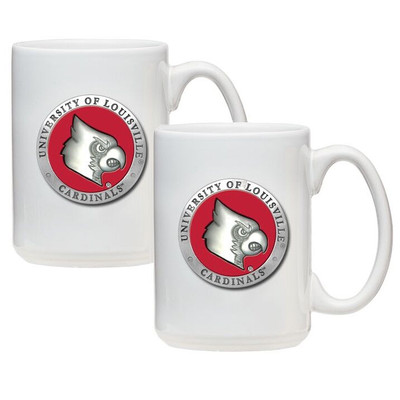 Louisville Cardinals Coffee Mug Set of 2 | Heritage Pewter | CM10186ERWH