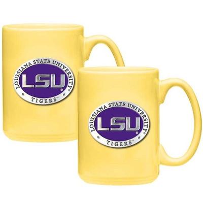LSU Tigers Coffee Mug Set of 2   Heritage Pewter   CM10121E