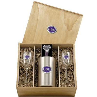 LSU Tigers Wine Box Set | Heritage Pewter | WSB10121E