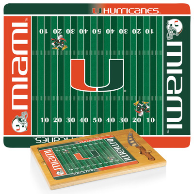 Miami Hurricanes Icon Cheese Tray | Picnic Time | 910-00-505-324-0