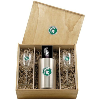 MSU Spartans Wine Box Set | Heritage Pewter | WSB10171E