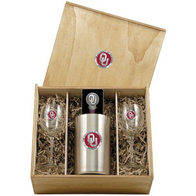 Oklahoma Sooners Wine Box Set | Heritage Pewter | WSB10194E