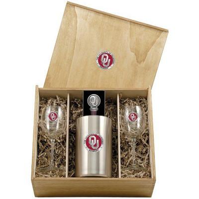 Oklahoma Sooners Wine Box Set   Heritage Pewter   WSB10194E