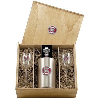 South Carolina Gamecocks Wine Box Set   Heritage Pewter   WSB10165E