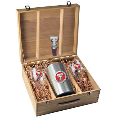 Texas Tech Red Raiders Wine Box Set   Heritage Pewter   WSB10146E