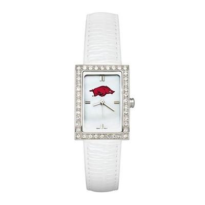 Arkansas Razorbacks Women's Allure White Leather Watch   Logo Art   UAR132