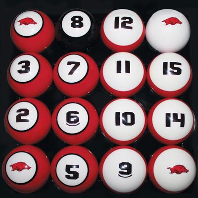 Arkansas Razorbacks Billiard Pool Ball Set | Hood Leather | 11950-AUB