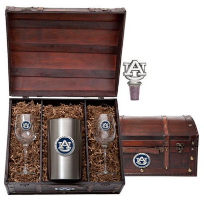 Auburn Tigers Wine Chest Set | Heritage Pewter | WSC10155EB