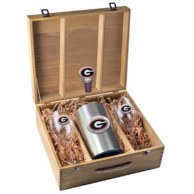 Georgia Bulldogs Wine Box Set   Heritage Pewter   WSB10005ER