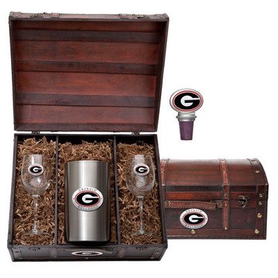 Georgia Bulldogs Wine Chest Set | Heritage Pewter | WSC10005ER