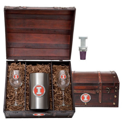 Illinois Fighting Illini Wine Chest Set | Heritage Pewter | WSC10269EO