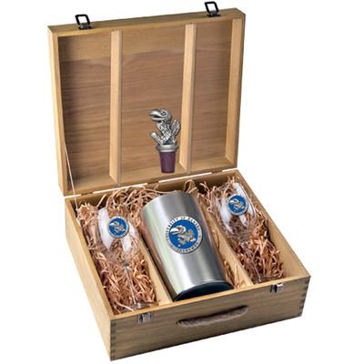 Kansas Jayhawks Wine Box Set | Heritage Pewter | WSB10184EB