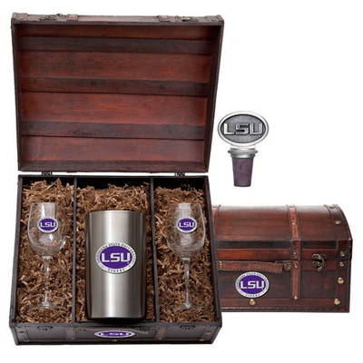 LSU Tigers Wine Chest Set | Heritage Pewter | WSC10374EP
