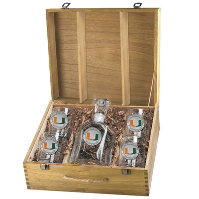 Miami Hurricanes Decanter Box Set | Heritage Pewter | CPTB10185EO