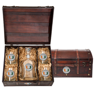 Miami Hurricanes Decanter Chest Set | Heritage Pewter | CPTC10185EO
