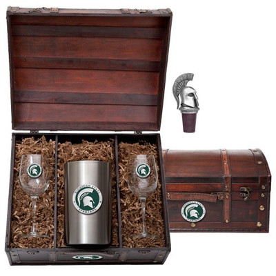 MSU Spartans Wine Chest Set | Heritage Pewter | WSC10171EG