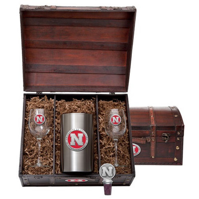 Nebraska Huskers Wine Chest Set | Heritage Pewter | WSC10183ER
