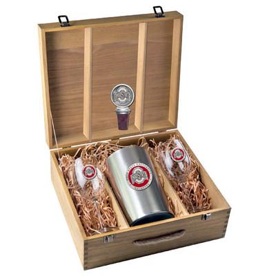Ohio State Buckeyes Wine Box Set   Heritage Pewter   WSB10175ER