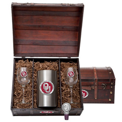 Oklahoma Sooners Wine Chest Set | Heritage Pewter | WSC10194ER