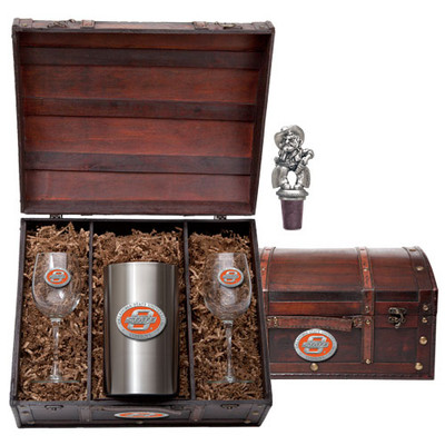 Oklahoma State Cowboys Wine Chest Set | Heritage Pewter | WSC10152EO