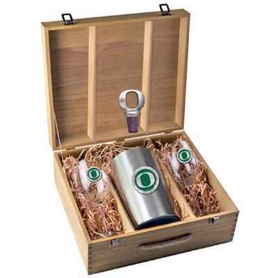 Oregon Ducks Wine Box Set | Heritage Pewter | WSB10169EG