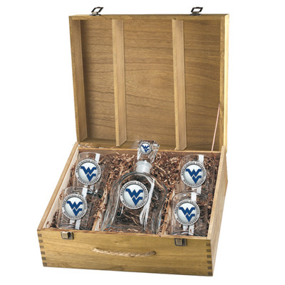 West Virginia Mountaineers Decanter Box Set | Heritage Pewter | CPTB10205EB