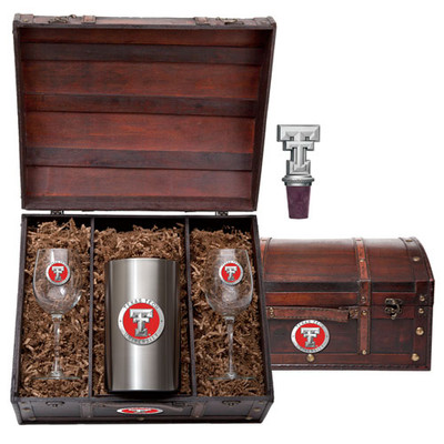 Texas Tech Red Raiders Wine Chest Set | Heritage Pewter | WSC10146ER